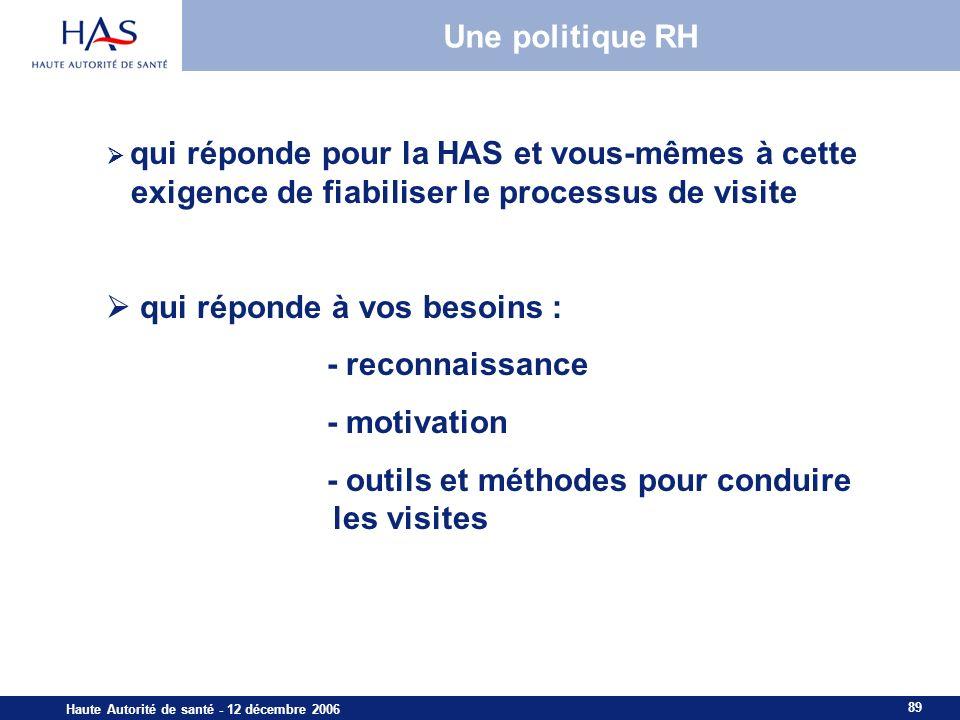 89 Haute Autorité de santé - 12 décembre 2006 Une politique RH qui réponde pour la HAS et vous-mêmes à cette exigence de fiabiliser le processus de visite qui réponde à vos besoins : - reconnaissance - motivation - outils et méthodes pour conduire les visites