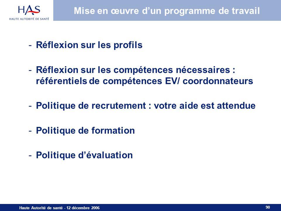 90 Haute Autorité de santé - 12 décembre 2006 Mise en œuvre dun programme de travail -Réflexion sur les profils -Réflexion sur les compétences nécessaires : référentiels de compétences EV/ coordonnateurs -Politique de recrutement : votre aide est attendue -Politique de formation -Politique dévaluation