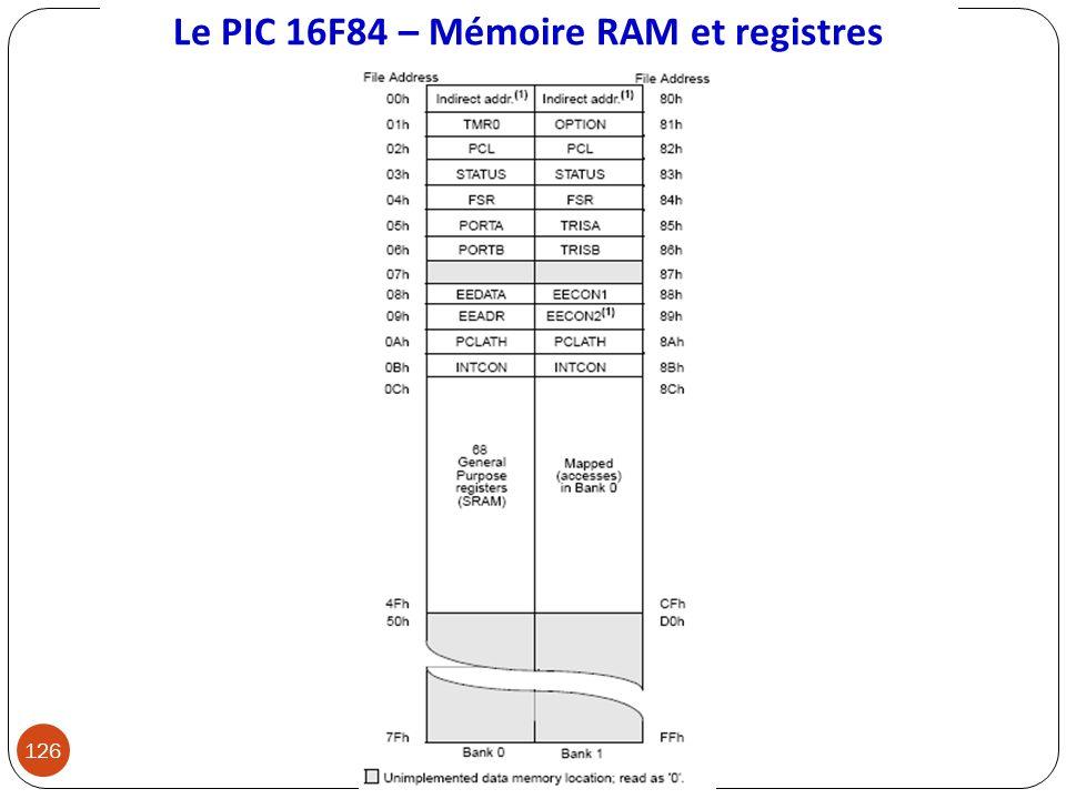 Le PIC 16F84 – Mémoire RAM et registres 126