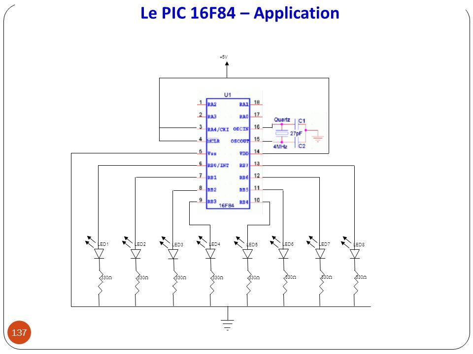 Le PIC 16F84 – Application LED3 LED2 LED5 LED6 LED7 LED8 LED4LED1 330 +5V 137