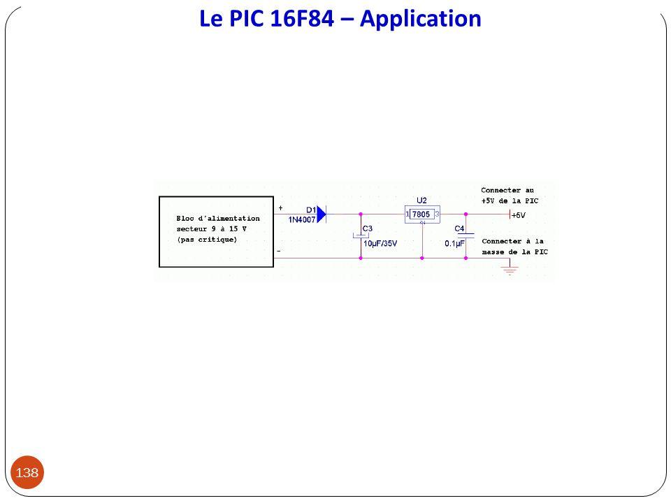 Le PIC 16F84 – Application 138