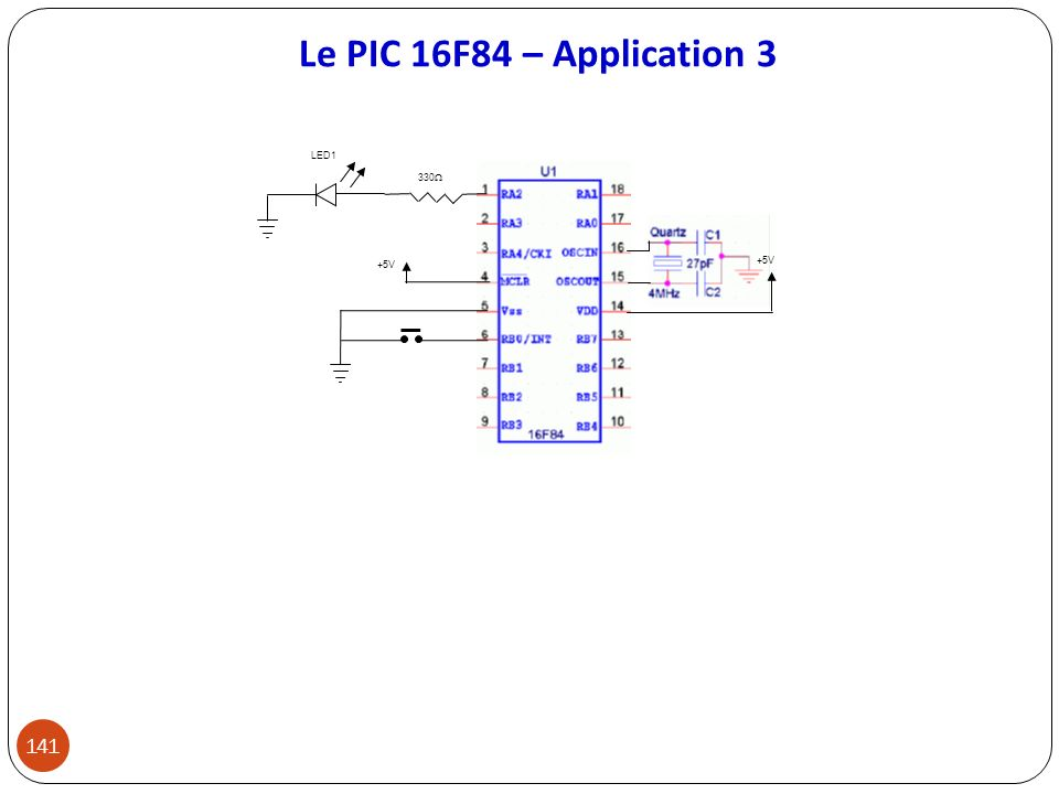 Le PIC 16F84 – Application 3 +5V 330 LED1 141