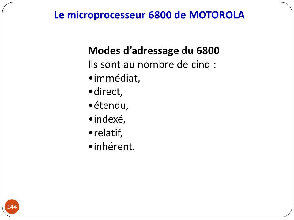 Le microprocesseur 6800 de MOTOROLA 144 Modes dadressage du 6800 Ils sont au nombre de cinq : immédiat, direct, étendu, indexé, relatif, inhérent.