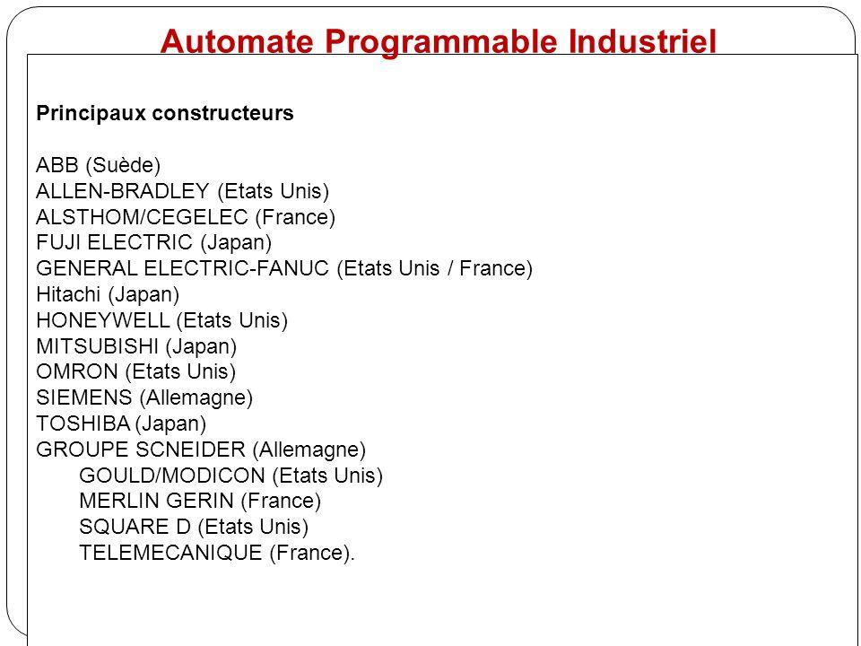 Principaux constructeurs ABB (Suède) ALLEN-BRADLEY (Etats Unis) ALSTHOM/CEGELEC (France) FUJI ELECTRIC (Japan) GENERAL ELECTRIC-FANUC (Etats Unis / Fr