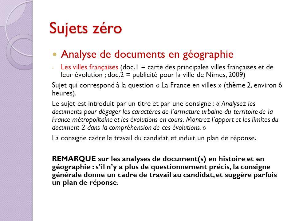 Sujets zéro Analyse de documents en géographie - Les villes françaises (doc.1 = carte des principales villes françaises et de leur évolution ; doc.2 =