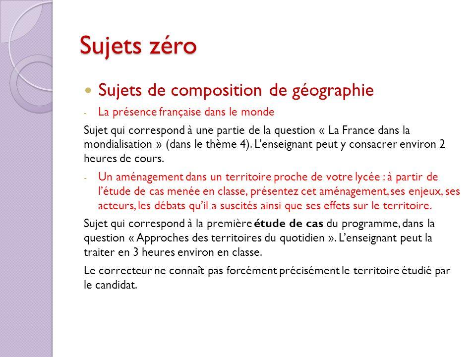 Sujets zéro Sujets de composition de géographie - La présence française dans le monde Sujet qui correspond à une partie de la question « La France dan