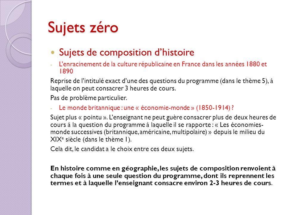 Sujets zéro Sujets de composition dhistoire - Lenracinement de la culture républicaine en France dans les années 1880 et 1890 Reprise de lintitulé exa