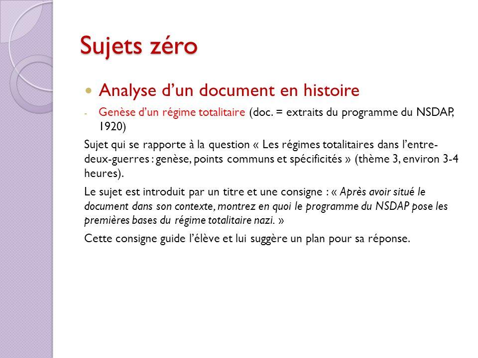 Sujets zéro Analyse dun document en histoire - Genèse dun régime totalitaire (doc. = extraits du programme du NSDAP, 1920) Sujet qui se rapporte à la