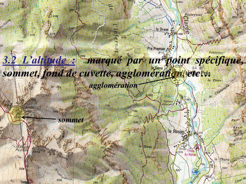 Préformation cynotechnique - Mod C MAJ 01/07/08 12/52 3.2 Laltitude : marqué par un point spécifique, sommet, fond de cuvette, agglomération, etc… som