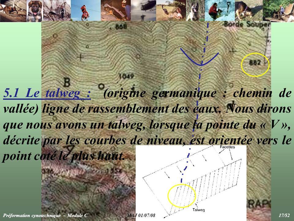 5.1 Le talweg : (origine germanique : chemin de vallée) ligne de rassemblement des eaux. Nous dirons que nous avons un talweg, lorsque la pointe du «