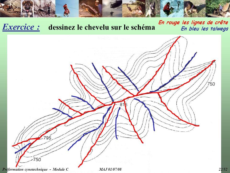 Exercice : dessinez le chevelu sur le schéma En rouge les lignes de crête En bleu les talwegs Préformation cynotechnique - Module C MAJ 01/07/08 22/52