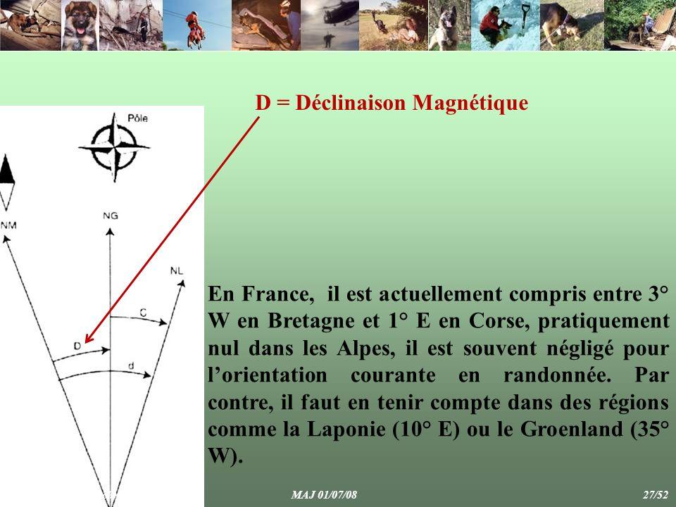 En France, il est actuellement compris entre 3° W en Bretagne et 1° E en Corse, pratiquement nul dans les Alpes, il est souvent négligé pour lorientation courante en randonnée.