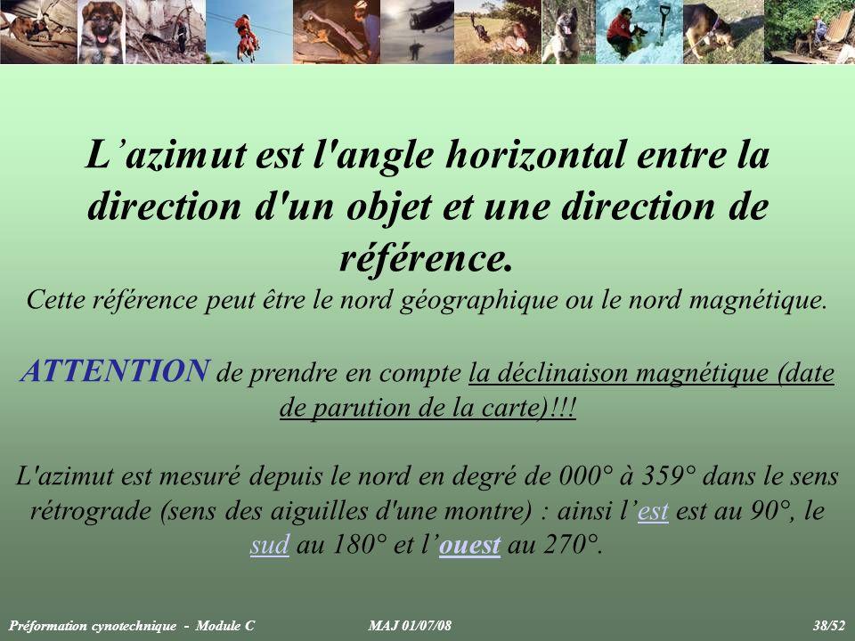 Lazimut est l'angle horizontal entre la direction d'un objet et une direction de référence. Cette référence peut être le nord géographique ou le nord