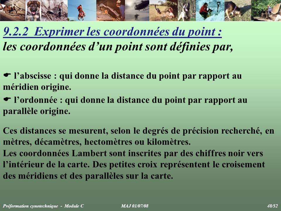 9.2.2 Exprimer les coordonnées du point : les coordonnées dun point sont définies par, labscisse : qui donne la distance du point par rapport au mérid