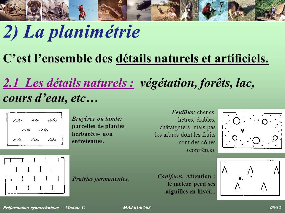 2) La planimétrie Cest lensemble des détails naturels et artificiels. 2.1 Les détails naturels : végétation, forêts, lac, cours deau, etc… Bruyères ou
