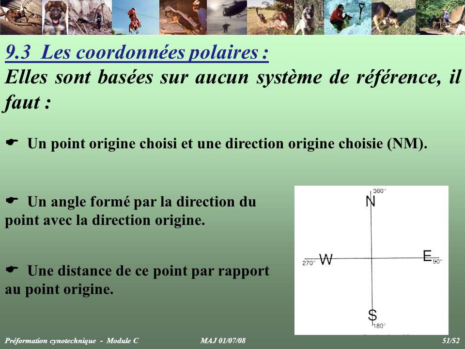 9.3 Les coordonnées polaires : Elles sont basées sur aucun système de référence, il faut : Un point origine choisi et une direction origine choisie (NM).