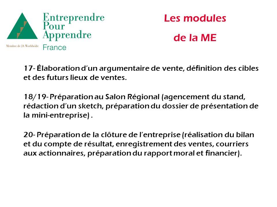 Les modules de la ME 17- Élaboration dun argumentaire de vente, définition des cibles et des futurs lieux de ventes.