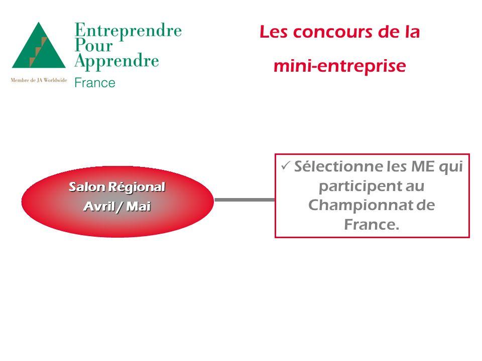Les concours de la mini-entreprise Salon Régional Avril / Mai Sélectionne les ME qui participent au Championnat de France.