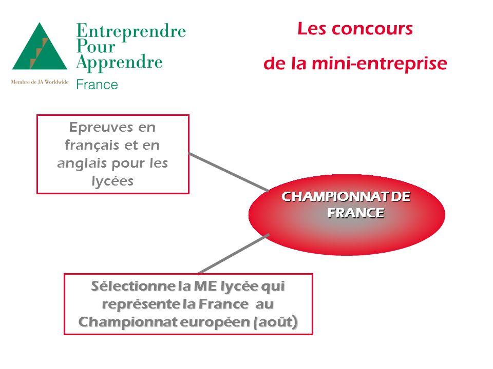 Les concours de la mini-entreprise CHAMPIONNAT DE FRANCE Epreuves en français et en anglais pour les lycées Sélectionne la ME lycée qui représente la France au Championnat européen (août )