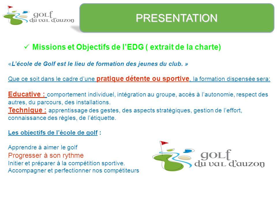 Missions et Objectifs de lEDG ( extrait de la charte) PRESENTATION «Lécole de Golf est le lieu de formation des jeunes du club.