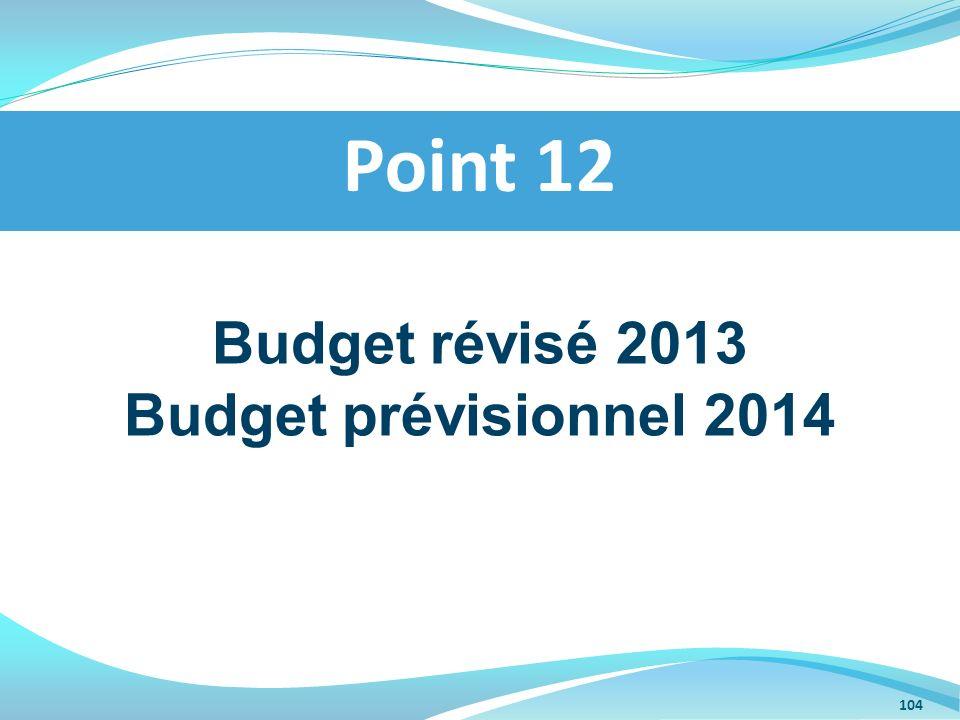 Budget révisé 2013 Budget prévisionnel 2014 Point 12 104