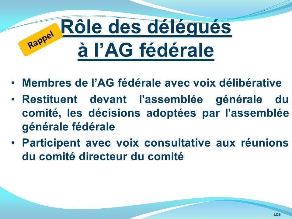 Membres de lAG fédérale avec voix délibérative Restituent devant l'assemblée générale du comité, les décisions adoptées par l'assemblée générale fédér