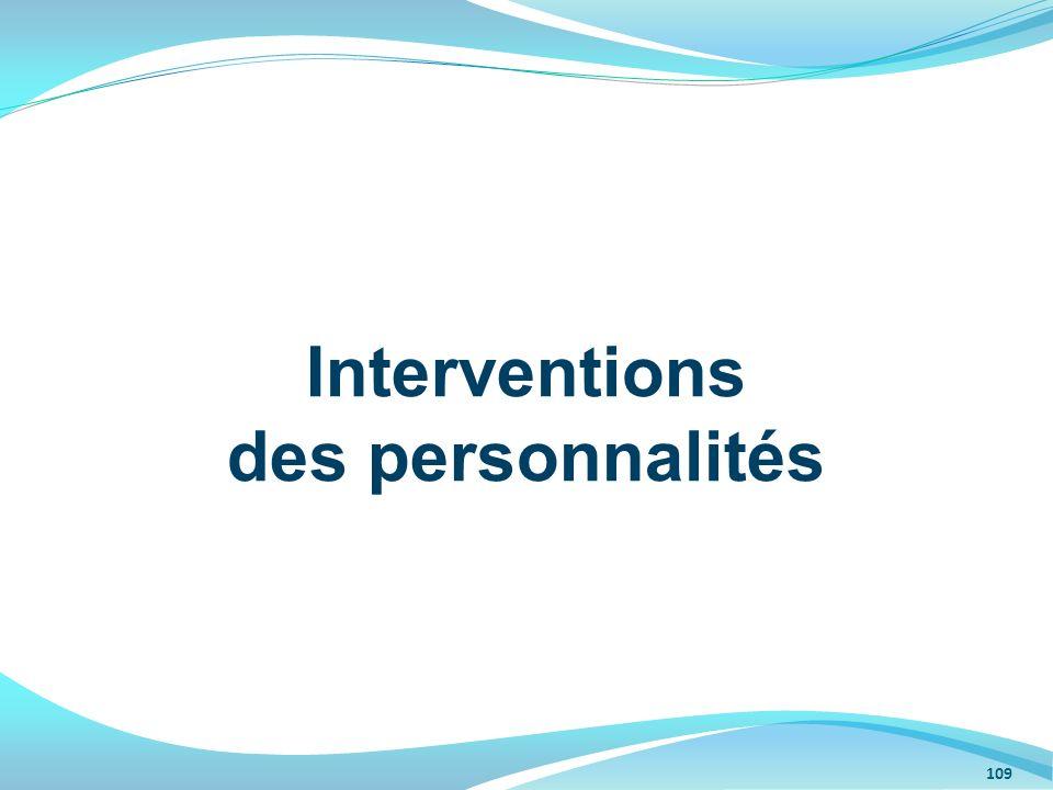 Interventions des personnalités 109