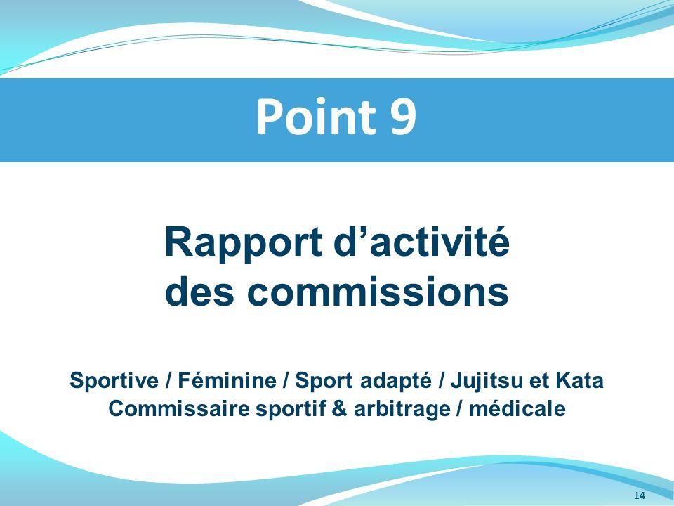 Rapport dactivité des commissions Sportive / Féminine / Sport adapté / Jujitsu et Kata Commissaire sportif & arbitrage / médicale Point 9 14