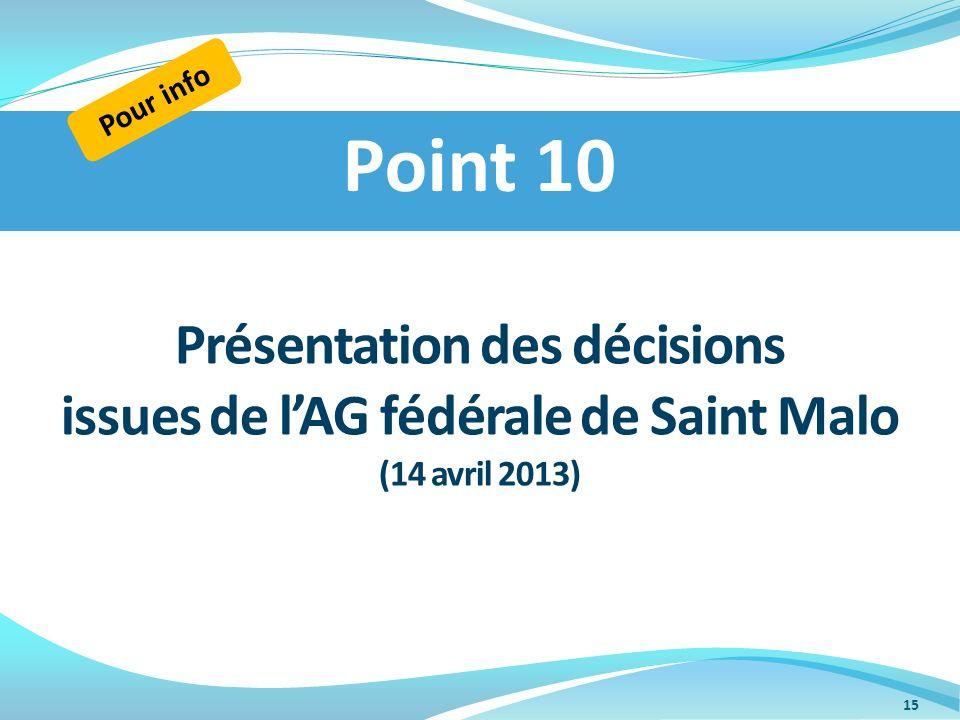 Présentation des décisions issues de lAG fédérale de Saint Malo (14 avril 2013) Point 10 Pour info 15