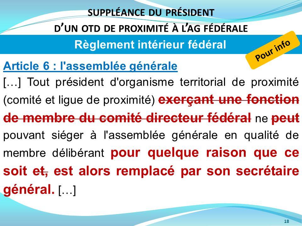 SUPPLÉANCE DU PRÉSIDENT D UN OTD DE PROXIMITÉ À L AG FÉDÉRALE 18 Article 6 : l'assemblée générale […] Tout président d'organisme territorial de proxim