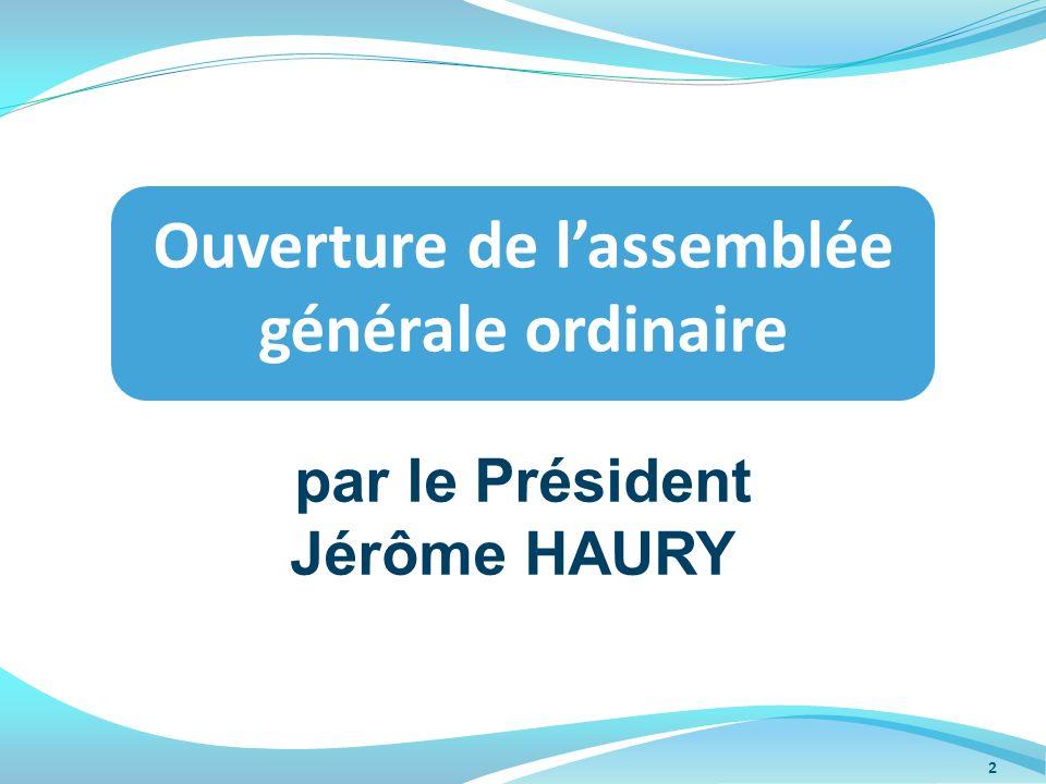 par le Président Jérôme HAURY Ouverture de lassemblée générale ordinaire 2