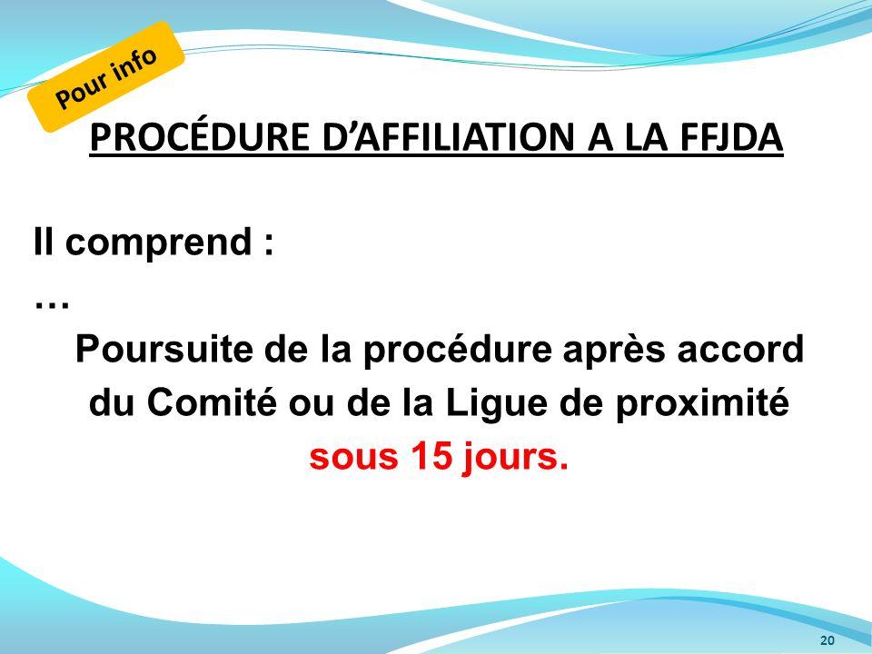 PROCÉDURE DAFFILIATION A LA FFJDA 20 Il comprend : … Poursuite de la procédure après accord du Comité ou de la Ligue de proximité sous 15 jours. Pour
