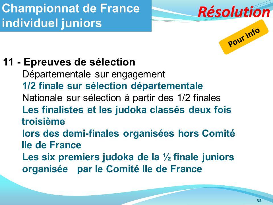 33 Championnat de France individuel juniors 11 - Epreuves de sélection Départementale sur engagement 1/2 finale sur sélection départementale Nationale
