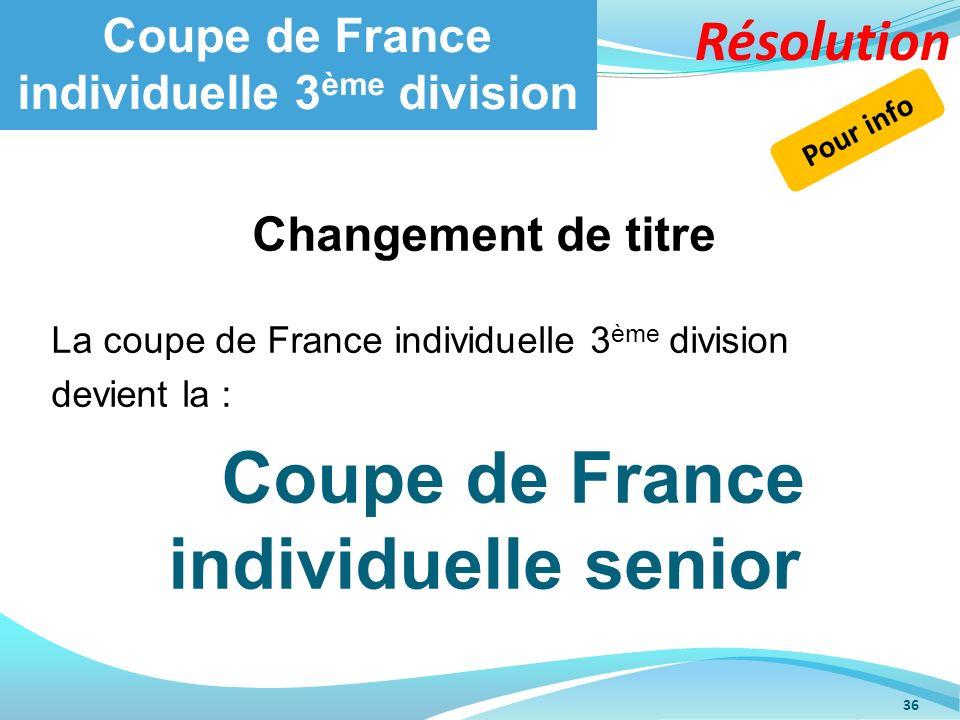 Coupe de France individuelle 3 ème division 36 Changement de titre La coupe de France individuelle 3 ème division devient la : Coupe de France individ