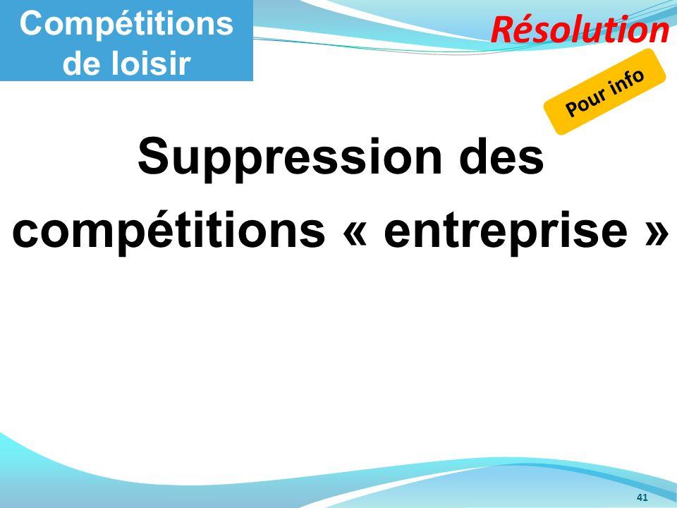 Compétitions de loisir 41 Suppression des compétitions « entreprise » Pour info Résolution