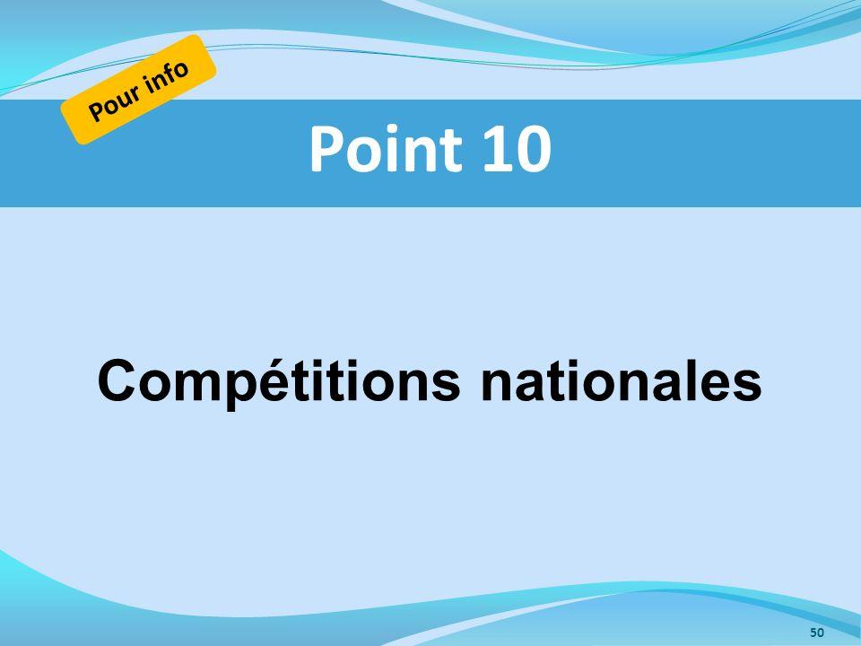 Compétitions nationales Point 10 Pour info 50