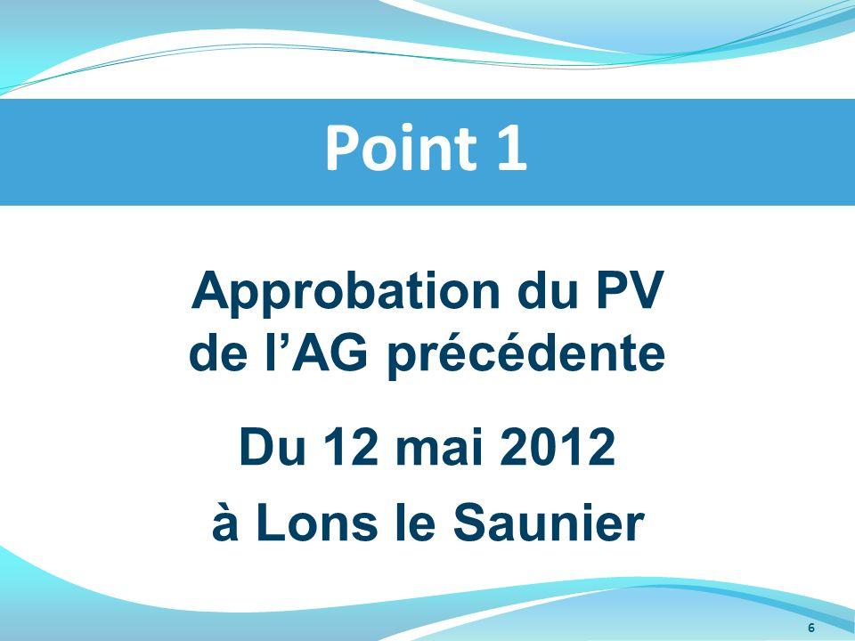 Approbation du PV de lAG précédente Du 12 mai 2012 à Lons le Saunier Point 1 6