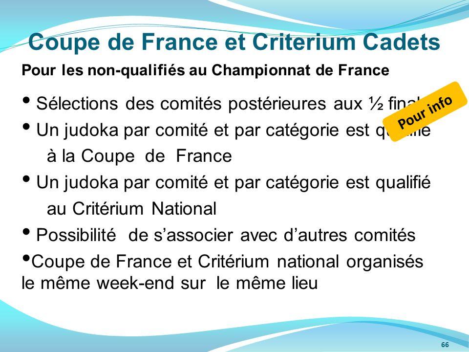 Coupe de France et Criterium Cadets Pour les non-qualifiés au Championnat de France Sélections des comités postérieures aux ½ finales Un judoka par co