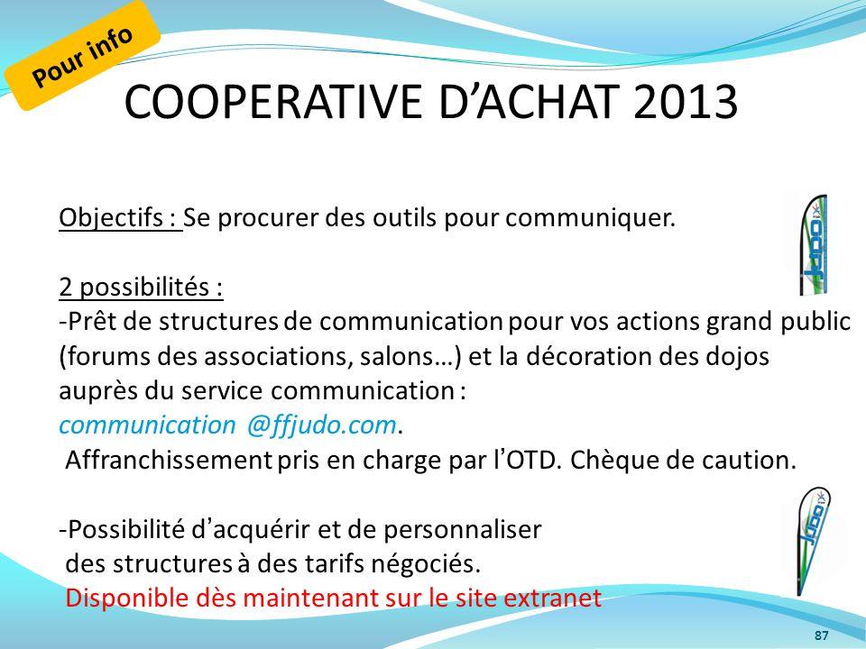 COOPERATIVE DACHAT 2013 87 Objectifs : Se procurer des outils pour communiquer. 2 possibilités : -Prêt de structures de communication pour vos actions