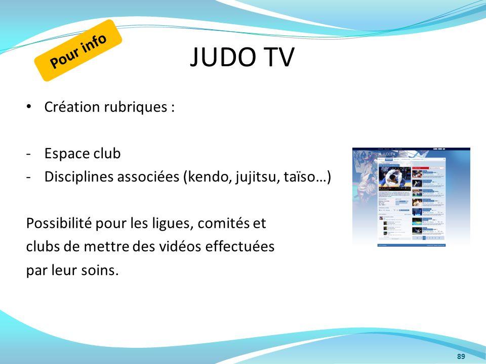 JUDO TV Création rubriques : -Espace club -Disciplines associées (kendo, jujitsu, taïso…) Possibilité pour les ligues, comités et clubs de mettre des