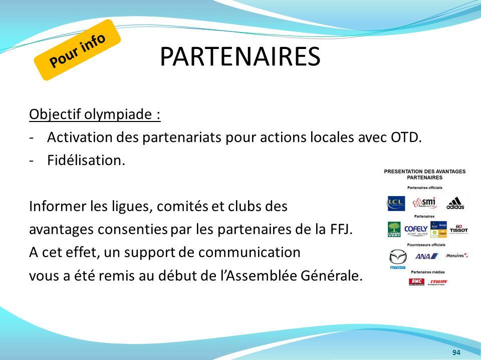 PARTENAIRES Objectif olympiade : -Activation des partenariats pour actions locales avec OTD. -Fidélisation. Informer les ligues, comités et clubs des
