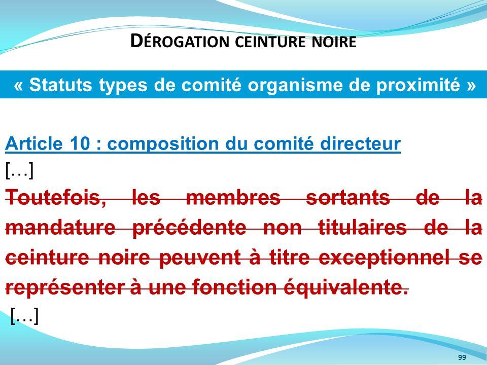 D ÉROGATION CEINTURE NOIRE 99 Article 10 : composition du comité directeur […] Toutefois, les membres sortants de la mandature précédente non titulair