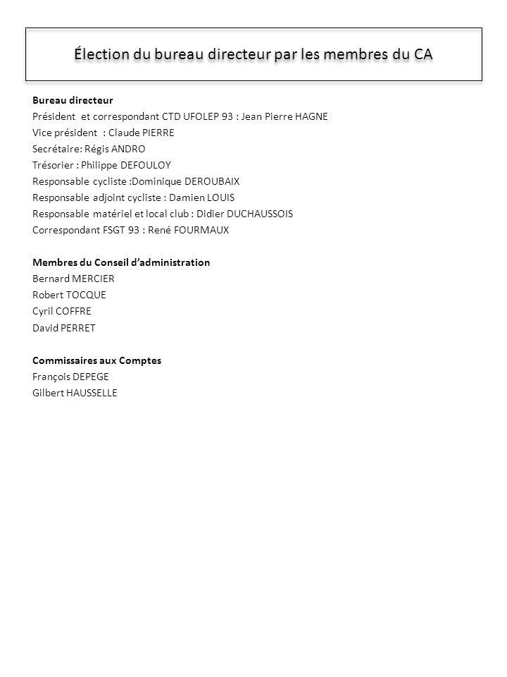 Élection du bureau directeur par les membres du CA Bureau directeur Président et correspondant CTD UFOLEP 93 : Jean Pierre HAGNE Vice président : Claude PIERRE Secrétaire: Régis ANDRO Trésorier : Philippe DEFOULOY Responsable cycliste :Dominique DEROUBAIX Responsable adjoint cycliste : Damien LOUIS Responsable matériel et local club : Didier DUCHAUSSOIS Correspondant FSGT 93 : René FOURMAUX Membres du Conseil dadministration Bernard MERCIER Robert TOCQUE Cyril COFFRE David PERRET Commissaires aux Comptes François DEPEGE Gilbert HAUSSELLE