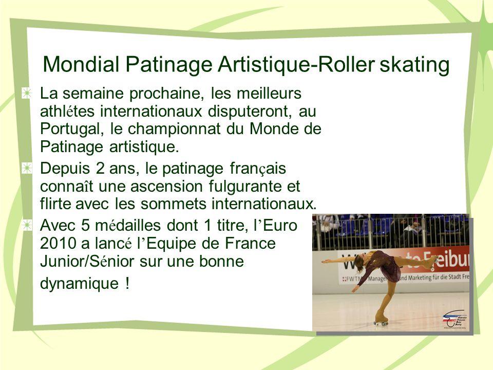 Mondial Patinage Artistique-Roller skating La semaine prochaine, les meilleurs athl é tes internationaux disputeront, au Portugal, le championnat du Monde de Patinage artistique.