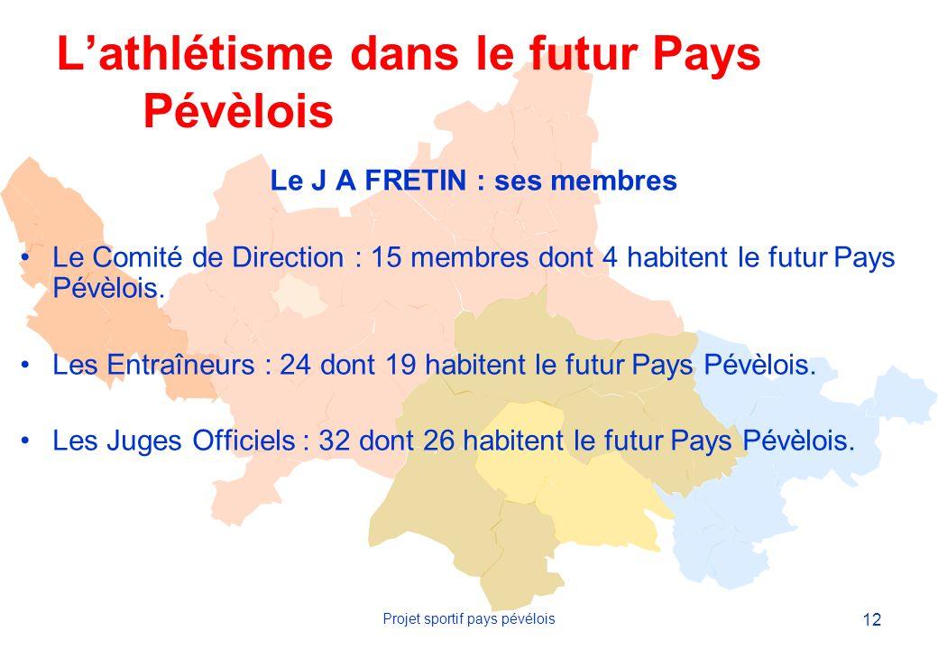 12 Projet sportif pays pévélois Le J A FRETIN : ses membres Le Comité de Direction : 15 membres dont 4 habitent le futur Pays Pévèlois.