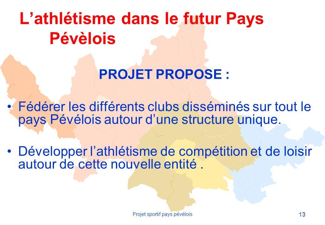 13 Projet sportif pays pévélois PROJET PROPOSE : Fédérer les différents clubs disséminés sur tout le pays Pévélois autour dune structure unique.