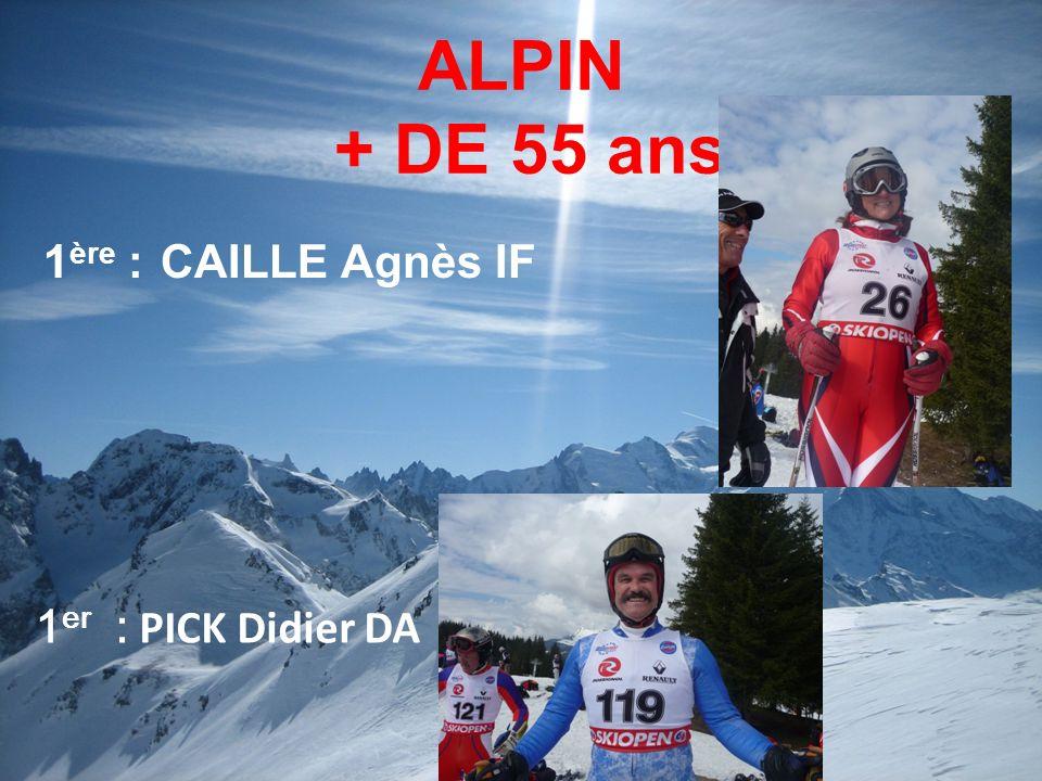 ALPIN + DE 55 ans 1 ère : CAILLE Agnès IF 1 er : PICK Didier DA