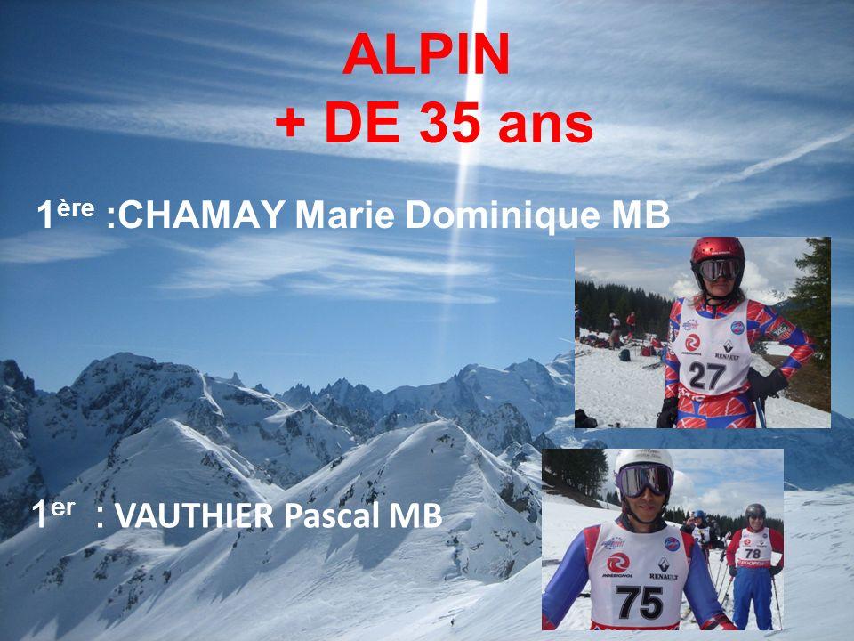ALPIN + DE 35 ans 1 ère :CHAMAY Marie Dominique MB 1 er : VAUTHIER Pascal MB