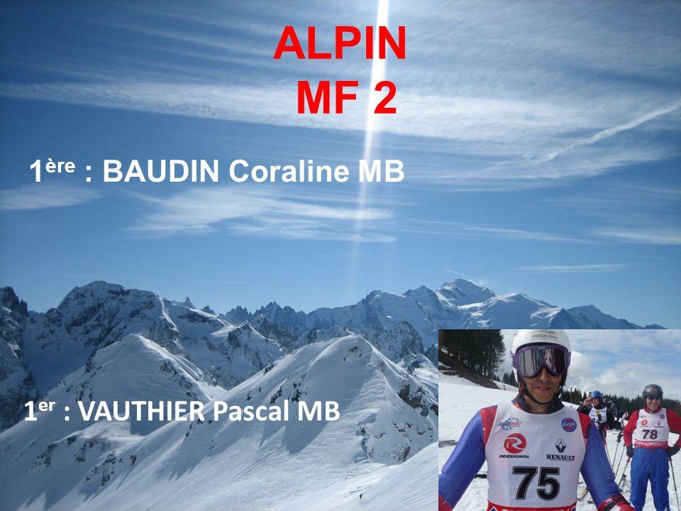 ALPIN MF 2 1 ère : BAUDIN Coraline MB 1 er : VAUTHIER Pascal MB