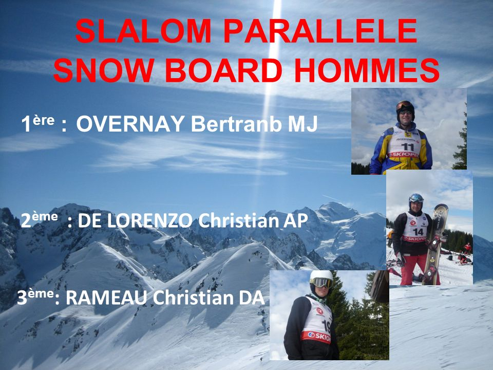 SLALOM PARALLELE SNOW BOARD HOMMES 1 ère : OVERNAY Bertranb MJ 3 ème : RAMEAU Christian DA 2 ème : DE LORENZO Christian AP